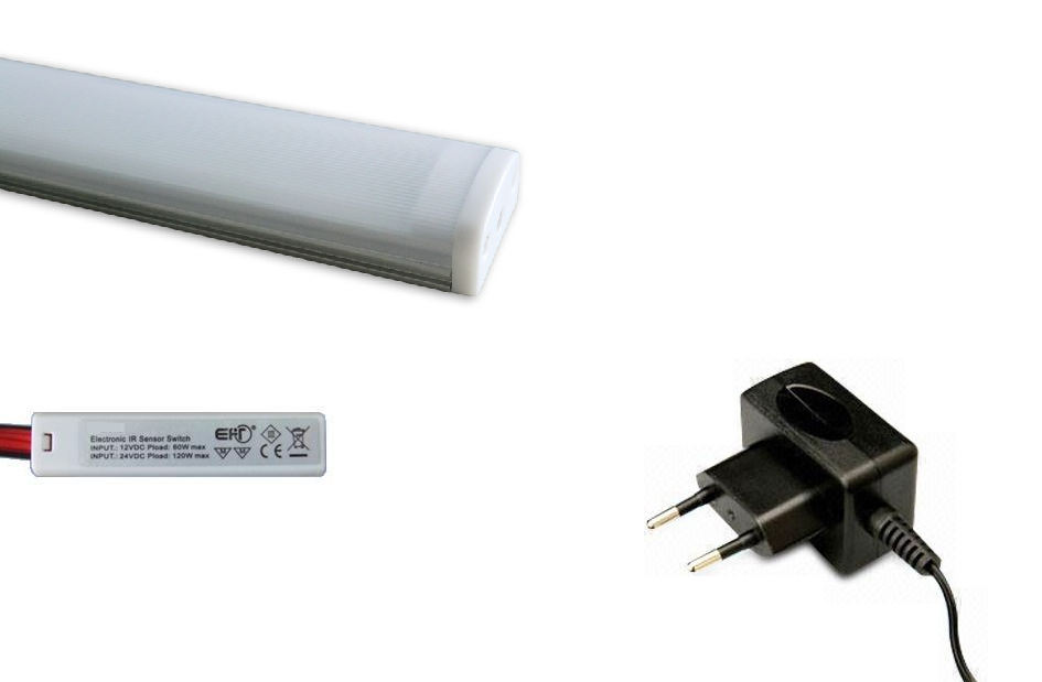 LED Lade set | Type Milky  | 30 Cm | Warm Wit | 4 Watt | 12 Volt | met Ladeschakelaar
